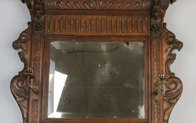 Antique Malinois oak carved mirror with candle holders