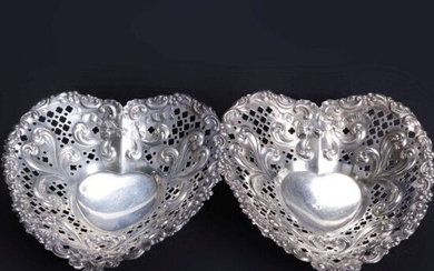 Antique Pair Sterling Silver Gorham Heart Shaped Dishes