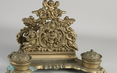Antique copper historicism inkstand with putti.&#160