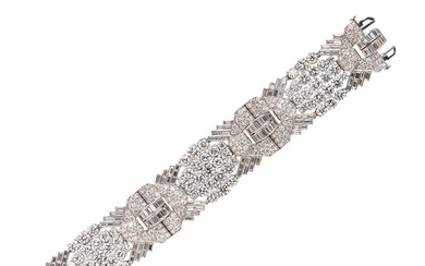 Art Deco Platinum and Diamond Strap Bracelet