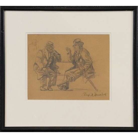"Ben Messick 1891-1981 Pencil Drawing ""Conversation"""