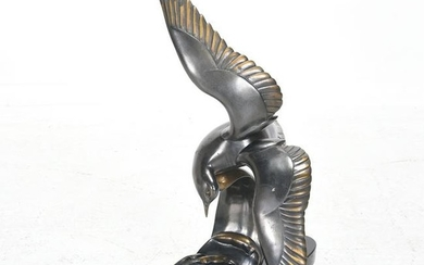 Bronze Sculpture of a Seagull on a Black Marble Base.