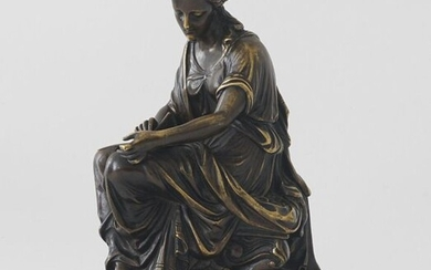 Bronze sculpture on marble base, 19th/20th century, Writing woman (Clio?), h. 19 cm.
