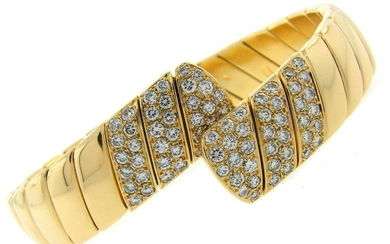 CARTIER Diamond Yellow Gold Bangle BRACELET 1980s