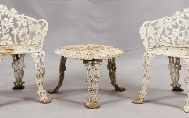 CAST IRON GARDEN CHAIRS & TABLE C. 1910