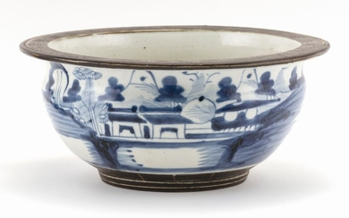 "CHINESE BLUE AND WHITE PORCELAIN JARDINIÈRE In ovoid form, with a flared rim and landscape decoration. Diameter 10.75""."