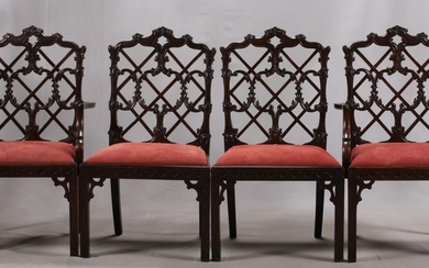 CHINESE CHIPPENDALE STYLE MAHOGANY CHAIRS SET OF 43 25 21