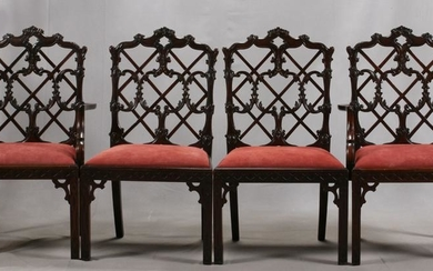 CHINESE CHIPPENDALE STYLE MAHOGANY CHAIRS