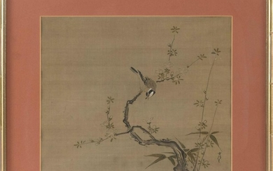 """CHINESE PAINTING ON SILK Depicting a songbird on a flowering tree branch. Signed lower right. 12"""" x 14.5"""" sight. Framed. Purchased i..."""