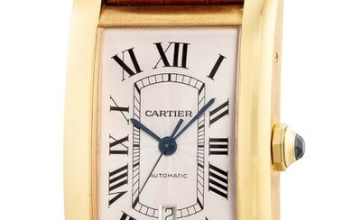Cartier, Ref. W2609756 A fine, attractive and extra large yellow gold rectangular-shaped wristwatch with center seconds, date, warranty and box