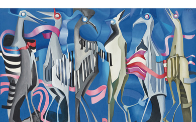 Cecily Sash South African 1924-2019 Birds (from the Migration series) 1975 oil on canvas laid down on board signed and d...
