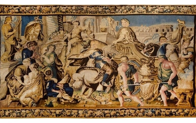 Charles Le Brun (1619-1690). The glorious return of Alexander the Great to Babylon Tapestry panel from Aubusson (France) in the early 18th century. Wool and silk. 262 x 471 cm (maintenance restorations, later braids) Alexander's triumphant entry into...