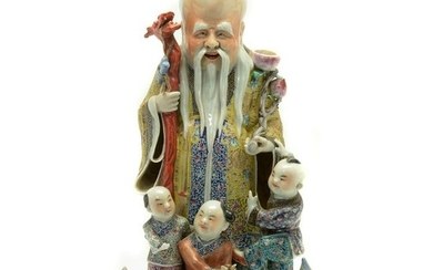 Chinese Famille Rose Porcelain Statue of Shui Lao