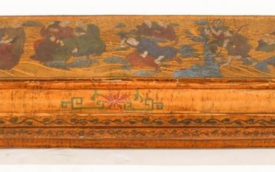 Chinese Immortals Polychrome Lacquered Long Box