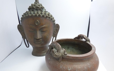 Chinese cast bronze bowl with stylized lion handles 15 cm, &...