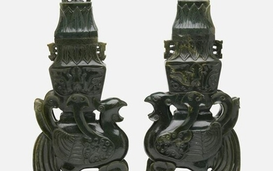 Chinese, spinach green jade archaistic 'Phoenix' vases