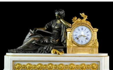 Corbisier Marble & Bronze Mantel Clock