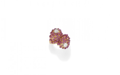 DIAMOND AND SYNTHETIC RUBY RING