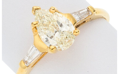 Diamond, Gold Ring The ring features a pear-shaped yellow...