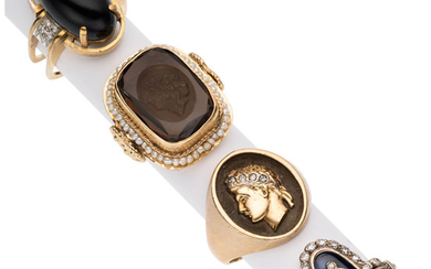Diamond, Multi-Stone, Seed Pearl, Gold Rings The lot includes...