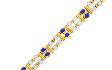 Double Strand Gold, Frosted Rock Crystal Bead and Lapis Bracelet, Boucheron, France