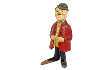 EARLY GERMAN PAPIER MACHER SPRING LOADED FIGURE DEPICTING OLIVER HARDY