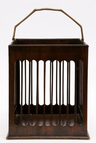 ENGLISH MAHOGANY BASKET, 19TH C., H 12""