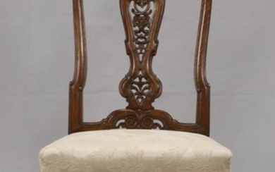 FRENCH HAND CARVED WALNUT SIDE CHAIR
