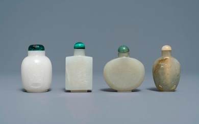 Four Chinese white and celadon jade snuff bottles,...