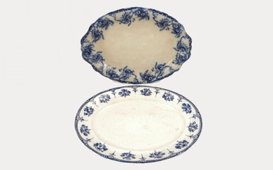 Four large Staffordshire oval shaped meat platters...