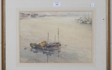 Francis S. Leke - 'Southwick' and View of Boats, a pair of watercolours, both signed and d