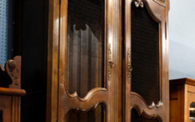 French Provincial Louis XV style walnut bookcase breakfront