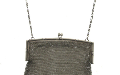French Sterling Silver Mesh Purse Handbag, Circa 1900.