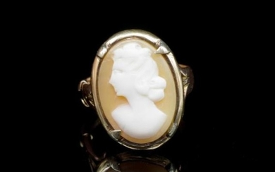 George VI 9ct rose gold and carved cameo ring marked Birming...