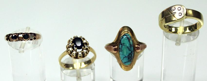 Gold 585. 4 rings. Diamonds, turquoise, sapphires.