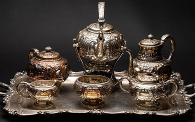 Gorham Sterling Silver Repousse 6 Piece Tea and Coffee Service with a Silverplate Tray EV1DQ