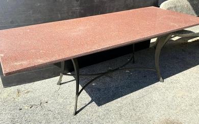 Granite and Steel Dining Table. Large thick Rose Grani