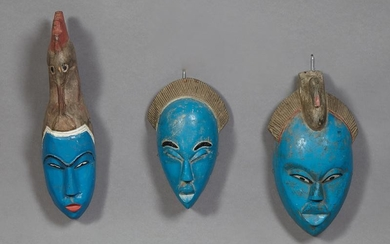 Group of Three African Carved Wood Masks, bright blue