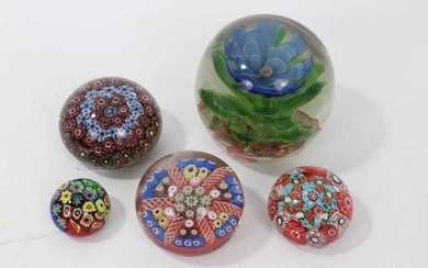 Group of five decorative paperweights, early 20th century and later