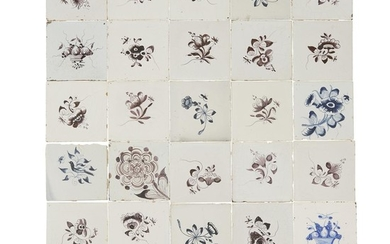 Group of twenty-seven Dutch Delft blue and manganese tiles...