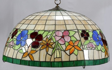 HANGING DOME LEADED GLASS CHANDELIER