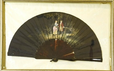 Hand Painted Rococo Courtship Scene Ladies Fan