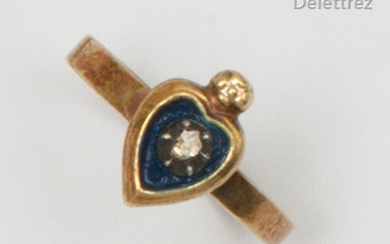 """Heart"""" ring in partially blue enamelled yellow gold, set with a rose-cut diamond. Finger size: 48. Rough: 1.5g."""