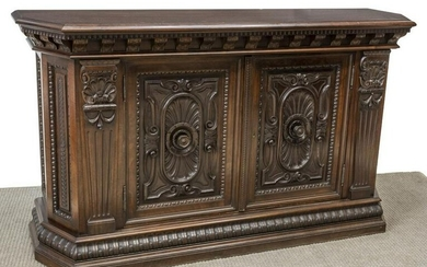ITALIAN WELL-CARVED WALNUT CANTED SIDEBOARD
