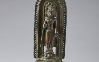 "Indian Art. A copper alloy altar portraying Buddha North-Eastern India, Pala period. 12th century . Provenance: Private Collection Milan, Italy. Published in: Himalayan Art Resource, item no.61755 Bonhams, ""Images of Devotion"", Hong Kong, Admiralty, 2..."