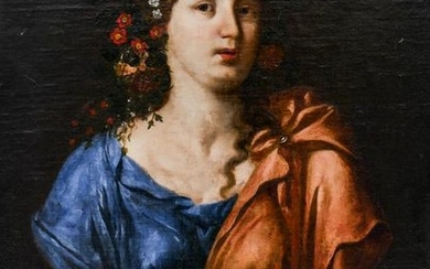 Italian School 18th Cent. Female Portrait Bust Oil on