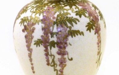 Japanese satsuma vase decorated with blossoms, Meiji Period 7.5cm high