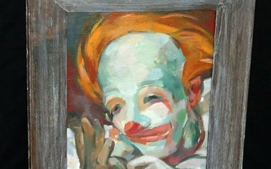 """Juliette May Fraser: 1940s Hawaii Oil Painting """"Clown"""""""