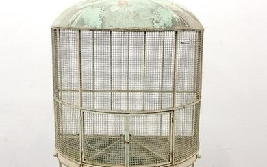 LARGE VICTORIAN STYLE WROUGHT IRON BIRD CAGE