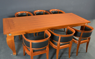 LEON KRIER. GIORGETTI TABLE WITH 6 CHAIRS.
